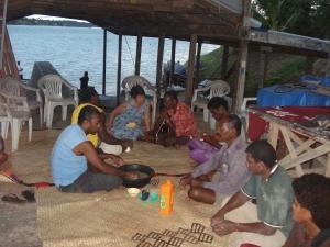 kyoko shares kava with tribe