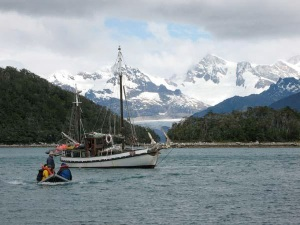 tierra del Fuego with sailboat