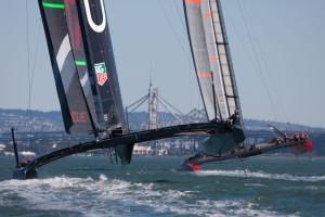 San Francisco (USA) - 34th America's Cup - ARTEMIS and ORACLE TEAM USA AC72 training in San Francisco Bay